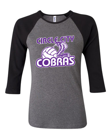Circle City Cobras Volleyball Women's Baby Rib Three Quarter Sleeve Contrast Raglan Tee SP - L&M Spirit Gear
