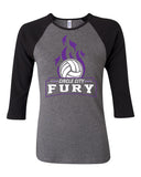 Circle City Fury Volleyball Women's Baby Rib Three Quarter Sleeve Contrast Raglan Tee SP - L&M Spirit Gear  - 1