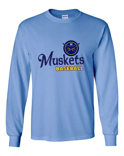 Muskets Baseball Youth Long Sleeve Tee - Glitter