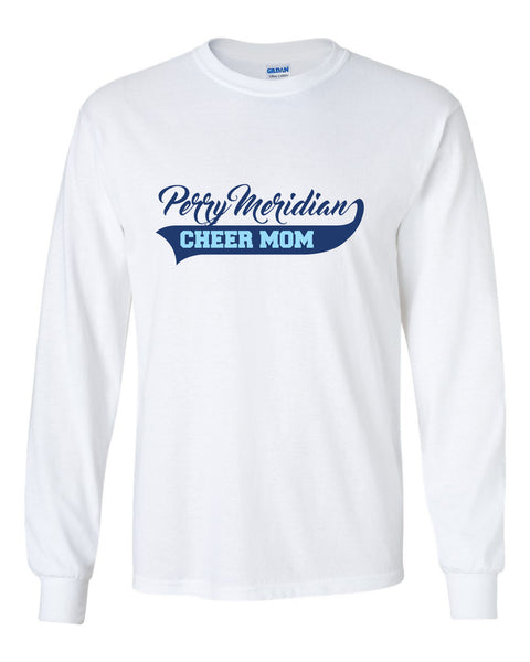 Perry Meridian Cheer Mom White or Sport Grey Long Sleeve Tee SP4 - L&M Spirit Gear  - 1