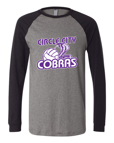 Circle City Cobras Volleyball Long Sleeve Jersey Baseball Tee SP - L&M Spirit Gear