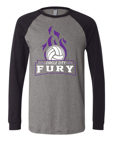 Circle City Fury Volleyball Long Sleeve Jersey Baseball Tee SP - L&M Spirit Gear  - 1