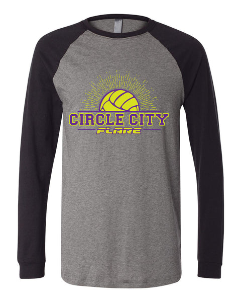 Circle City Flare Volleyball Long Sleeve Jersey Baseball Tee SP - L&M Spirit Gear