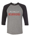 Northwest Warriors Basketball Unisex Three-Quarter Sleeve Baseball T-Shirt V - L&M Spirit Gear  - 1