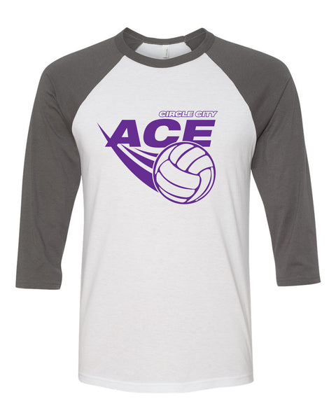 Circle City Ace Volleyball Unisex Three-Quarter Sleeve Baseball T-Shirt SP - L&M Spirit Gear