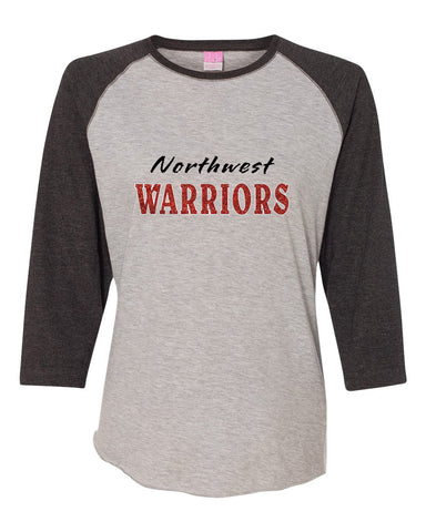 Northwest Warriors Basketball Women's Baseball Fine Jersey Tee Glitter - L&M Spirit Gear