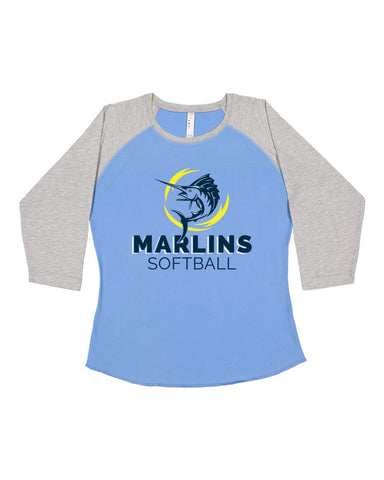 Marlins Softball Women's Baseball Jersey Tee - SP