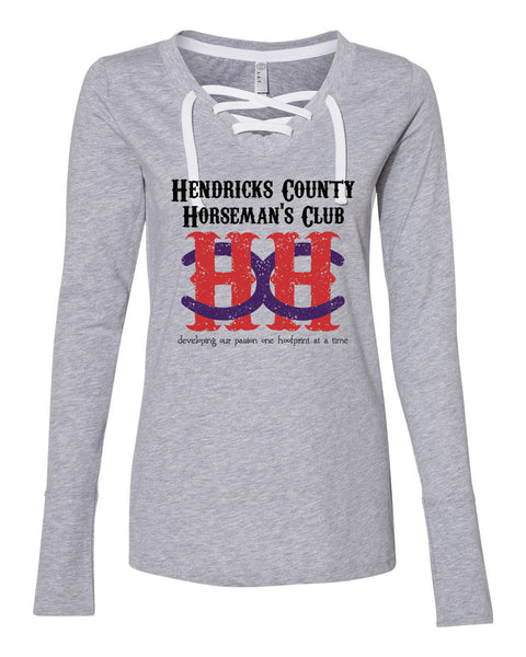 HCHC Women's Lace Up Long Sleeve Tee