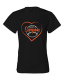 Scorpions Baseball B-Core Women's Crewneck T-Shirt SP Heart Glitter - L&M Spirit Gear  - 1