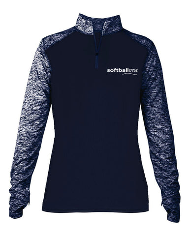 Softball one Sport Blend Ladies 1/4 Zip EMB - L&M Spirit Gear