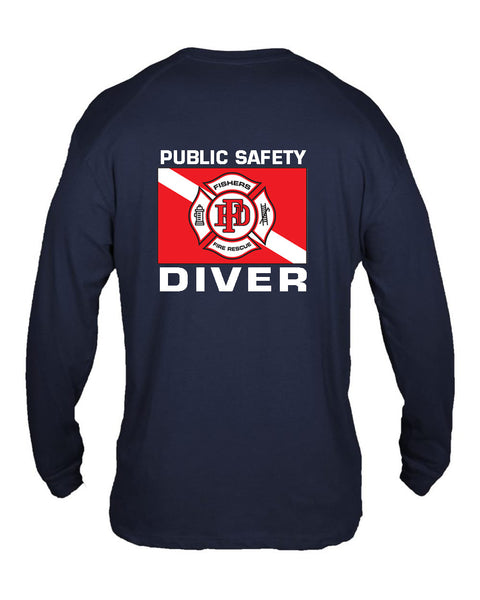 Fishers Fire Department Water Rescue Extreme Cotton Long Sleeve T-Shirt SP5 - L&M Spirit Gear