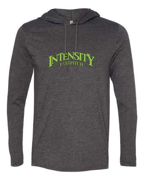 Indy Intensity Adult Heather Dark Grey or White Dark Grey Long Sleeve Hooded T-Shirt - L&M Spirit Gear