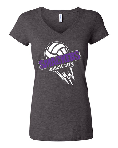 Circle City Smackers Volleyball Women's Short Sleeve Jersey V-Neck Tee SP - L&M Spirit Gear  - 1