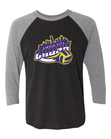 Circle City Crush Volleyball Unisex Tri-Blend Three-Quarter Sleeve Baseball Raglan Tee SP - L&M Spirit Gear