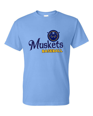Muskets Baseball Adult Short Sleeve Tee - Glitter