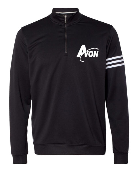 Avon Band adidas Black/White Golf ClimaLite 3-Stripes French Terry Quarter-Zip Pullover EMB - L&M Spirit Gear