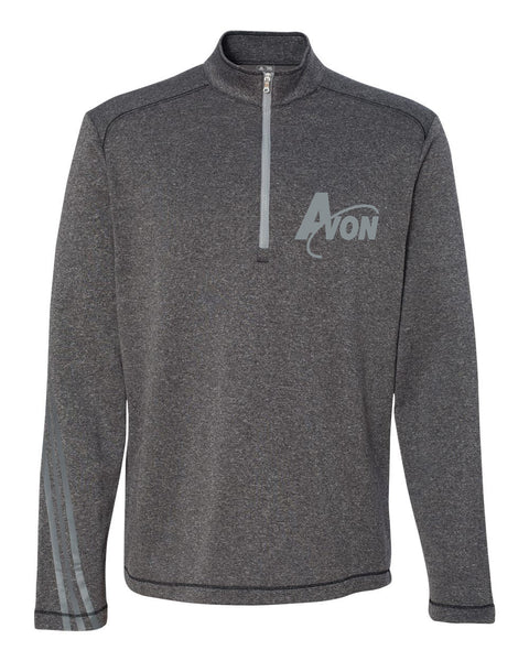 Avon Band adidas Black Heather/ Medium Grey Golf Brushed Terry Heather Quarter-Zip Jacket EMB - L&M Spirit Gear