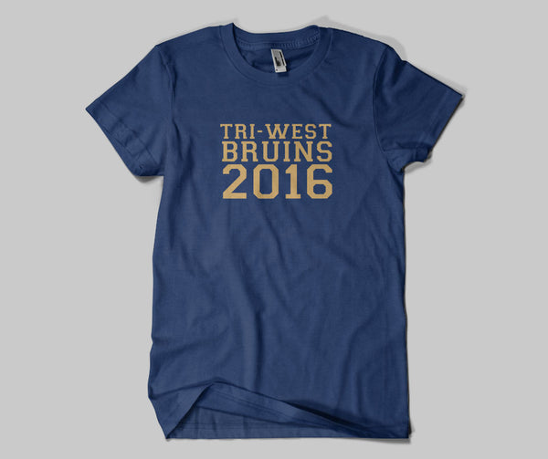 Tri West Bruins 2016 GLITTER Navy Standard or Dri Fit Short Sleeve Tee SP1 - L&M Spirit Gear