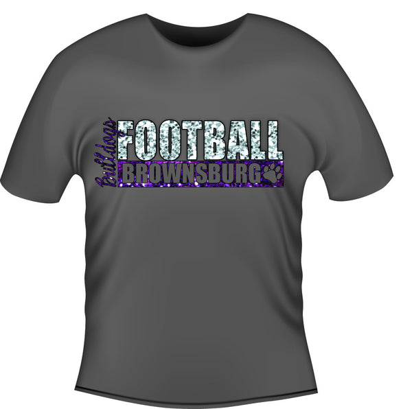 Glitter Bulldogs Football Tee - L&M Spirit Gear