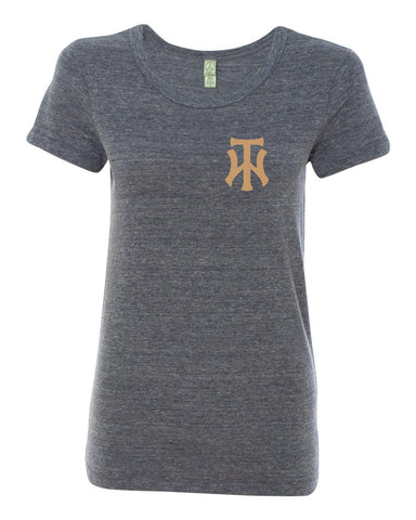 TW Women's Navy Eco-Jersey Ideal T-Shirt Embroidered Logo - L&M Spirit Gear  - 1