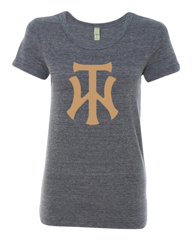 TW Women's Navy Eco-Jersey Ideal T-Shirt Glitter Logo - L&M Spirit Gear