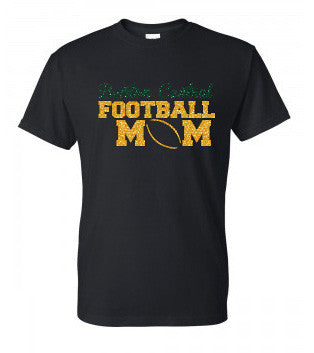 Football Mom Glitter Tee - L&M Spirit Gear