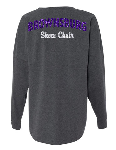 Grey Spirit Jersey with GLITTER Printing - L&M Spirit Gear