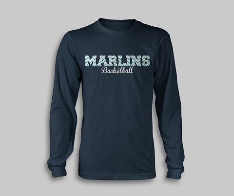 Marlins Basketball Glitter Navy Long Sleeve Tee - L&M Spirit Gear