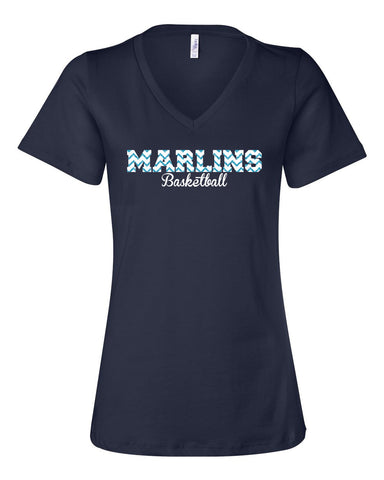 Marlins Glitter Women's V-Neck Basketball Tee - L&M Spirit Gear