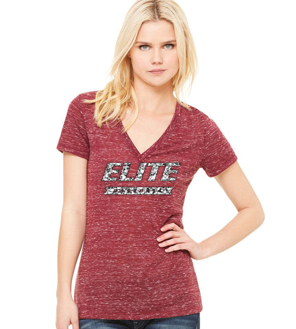 V Neck Tee with Silver Glitter Elite V - L&M Spirit Gear