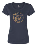 Tri West Bruins Script Font Navy or Grey Women's Polyester Short Sleeve Tee Glitter SP3 - L&M Spirit Gear