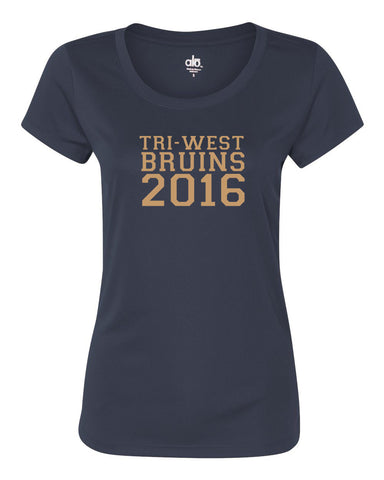 Tri West Bruins 2016 Navy or Grey Women's Polyester Short Sleeve Tee SP1 - L&M Spirit Gear