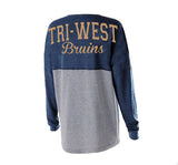 Tri West Bruins in GLITTER Navy/Grey Jersey Pullover - L&M Spirit Gear  - 1