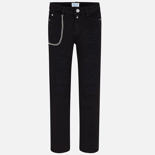 Mayoral Tween Black Slim Fit Jeans with Chain