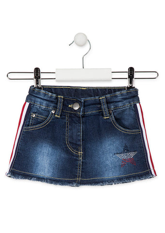 Denim Skirt with Side Stripes - Kidz and Company