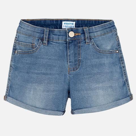 Medium wash everyday denim shorts with two side pockets and snap closure