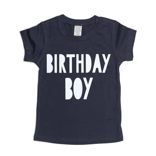 Short sleeve navy blue t-shirt with birthday boy printed on front