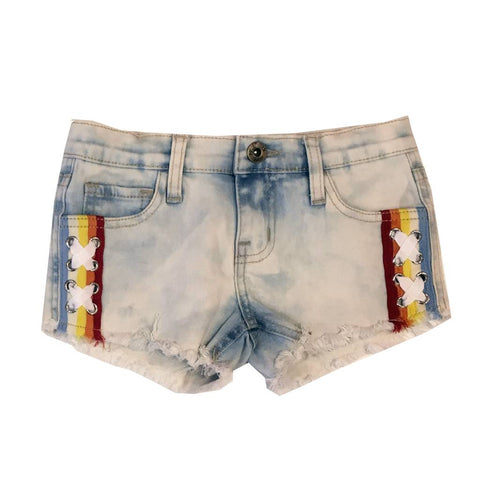 Vintage Havana Light Wash Lace Up Side Denim Shorts