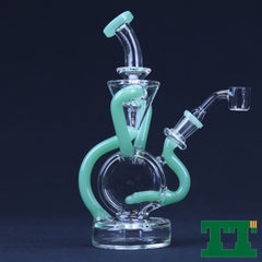 "Red Eye Glass 9"" Tall Cumulus Double Concentrate Recycler"