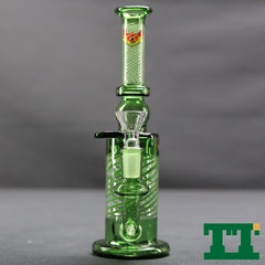 "Red Eye Glass 8"" Turnt Bubbler"