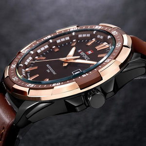 Waterproof Quartz Watch Military Leather