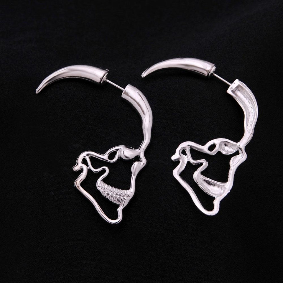 STEAMPUNK SILVER SKULL STUD EARRINGS - Market Glad ™