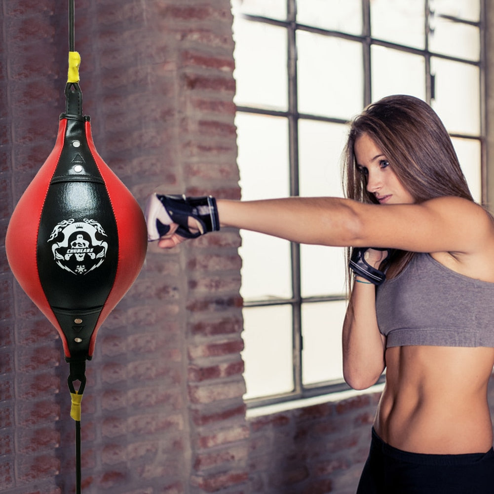 Double End Boxing Dodge Speed Ball PU Leather Inflatable Muay Thai MMA Training Floor to Ceiling Punching Bag Fitness Equipment|Punching Balls & Speed Balls
