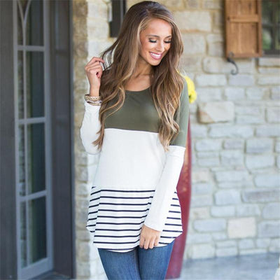 Womens Casual Color Block Tunic Tops Back Lace Long Sleeve T-Shirt Blouses - Market Glad ™