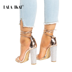 Women Heeled Sandals Bandage Rhinestone Ankle Strap Pumps Super High Heels 11 CM Square Heels Lady Shoes 014C1931 -4 - Market Glad ™