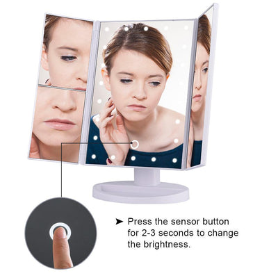Folding Touchscreen 3-Panel LED Makeup Mirror - Market Glad ™