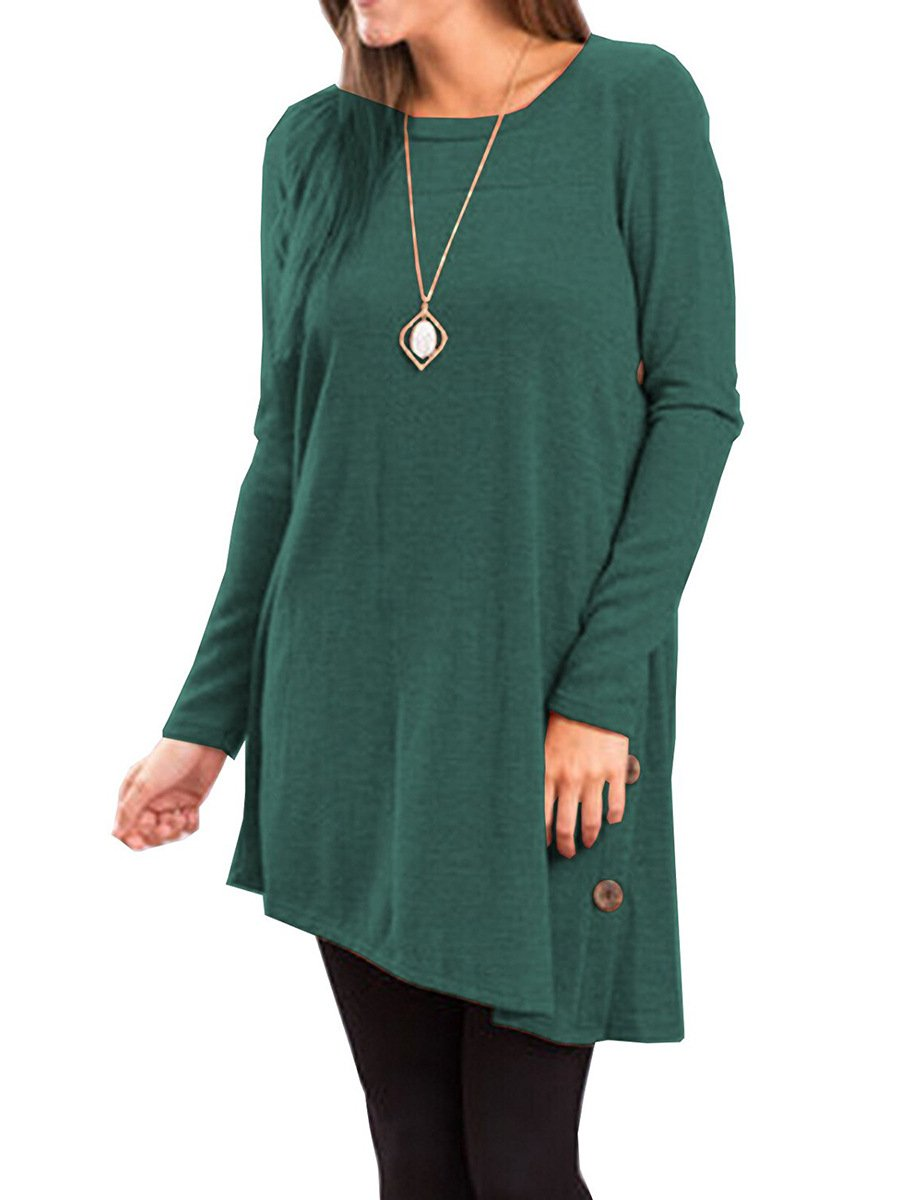 Long Sleeve Scoop Neck Button Side Tunic Dress - Market Glad ™