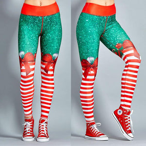 Christmas Leggings - High Waist Candy Stripe Bow + Free Shipping