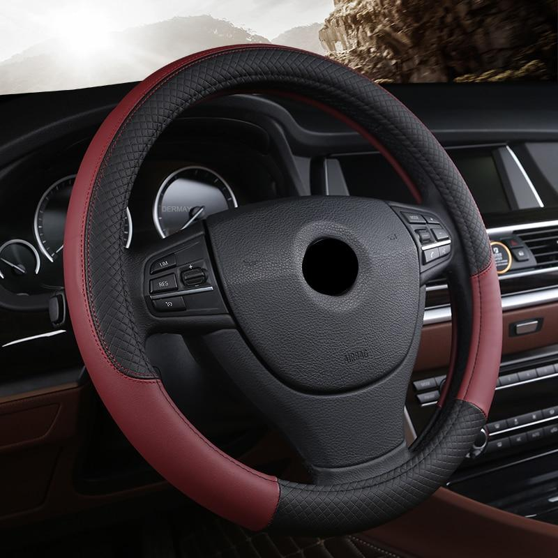Black Faux Leather Car Steering Wheel Cover Universal 38cm Non-slip Grip Touch