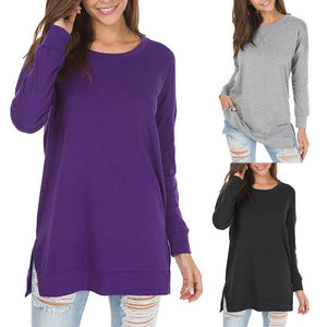 Long Sleeve Side Split Loose Casual Pullover Tunic Tops - Market Glad ™